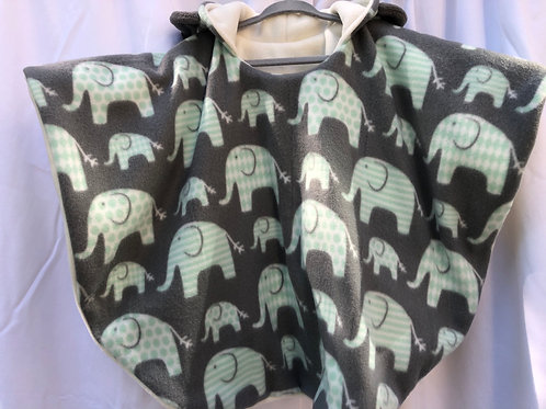 Mint Green Elephants on Gray with White