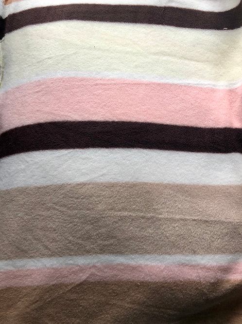 Pink, beige, brown & white striped fleece