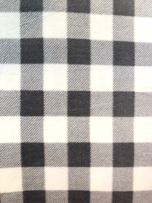 Grey and White Buffalo Check Fleece