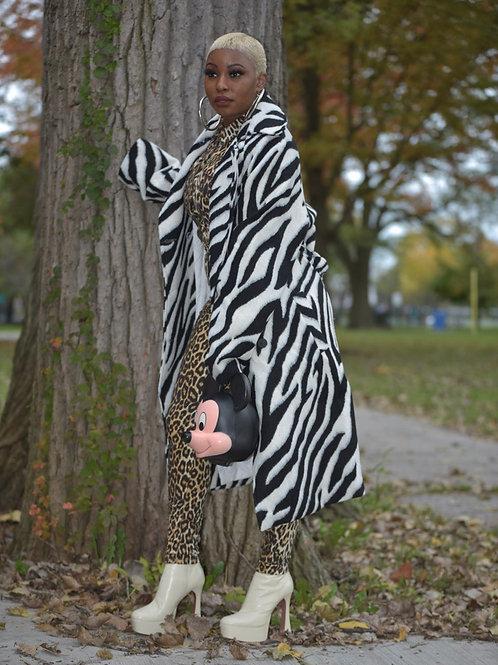 Oversized zebra coat