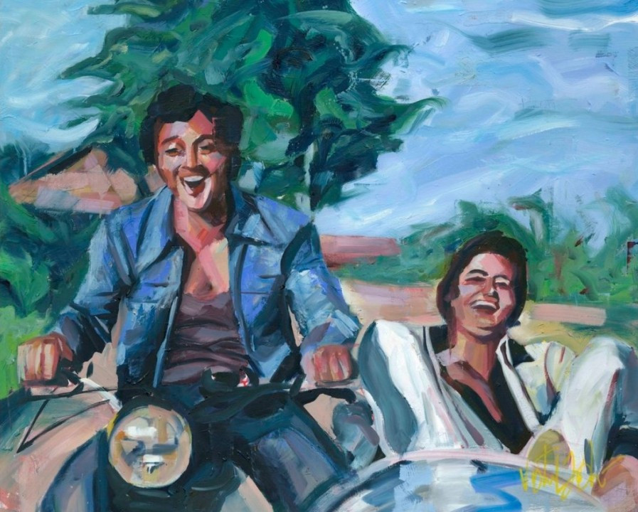 A painting 'still' from a song about the unique bond of friendship; from the epic movie Sholay.
