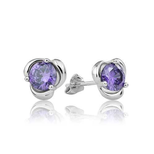 Earrings - Purple Swirls