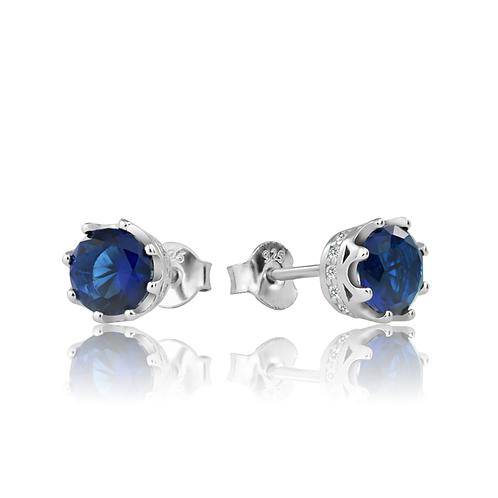 Earrings - Sapphire Crowns