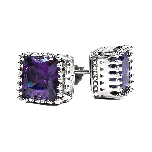Earrings - Purple Square