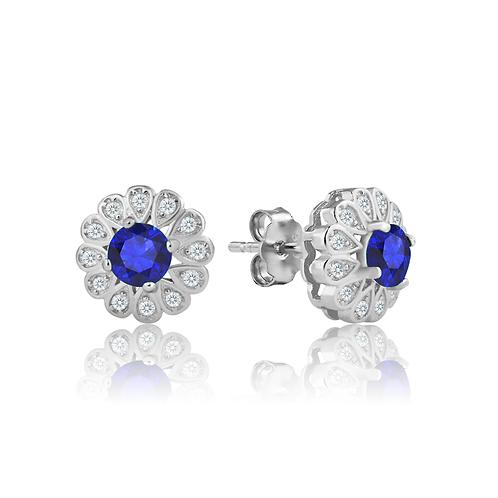 Earrings - Sapphire Daisy