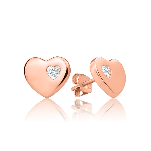 Earrings - Rose Simple Hearts
