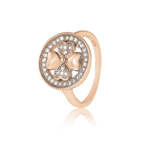 Ring - Rose Crystal Clover