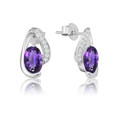 Earrings - Purple Wave