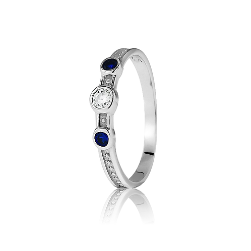Ring - Triple Stone - Blue