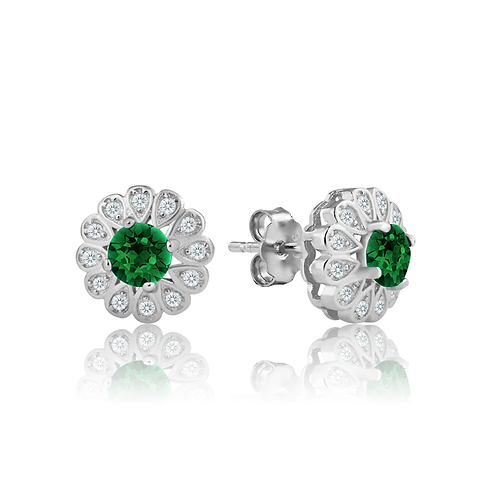 Earrings - Emerald Daisy
