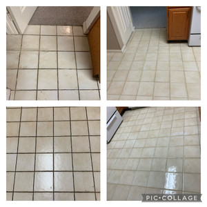 Tile and Grout Cleaning - Before and After - 20 year old tile - never professionally cleaned.
