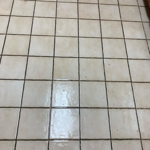 Tile Cleaning - Before - Caked on dirt in grout lines.