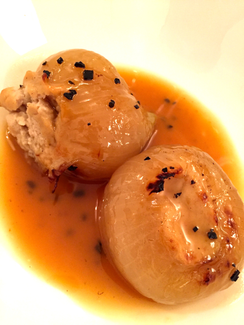 slow cooked stuffed onions