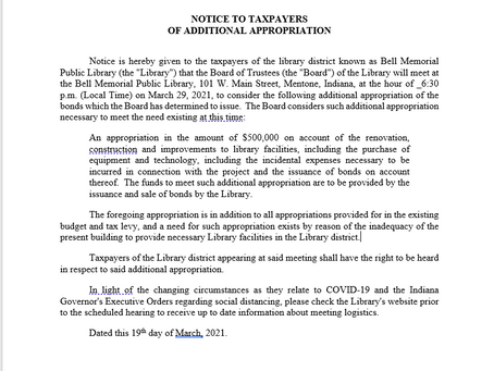 Notice to Taxpayers of Additional Appropriation