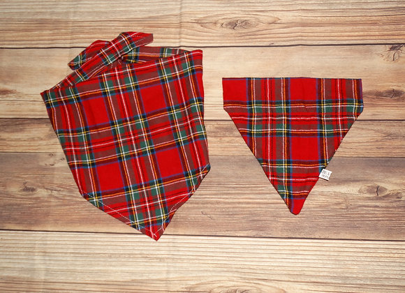 CLASSIC HOLIDAY FLANNEL BANDANA & SCRUNCHIE SET