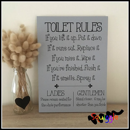 'Toilet Rules' sign