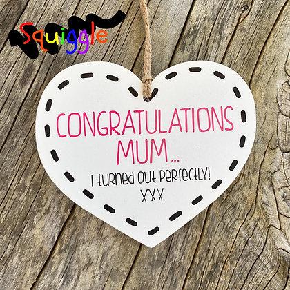Congratulations Mum - small heart