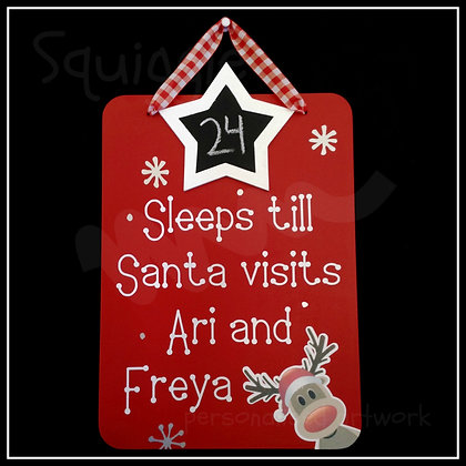 Personalised Countdown to Christmas sign