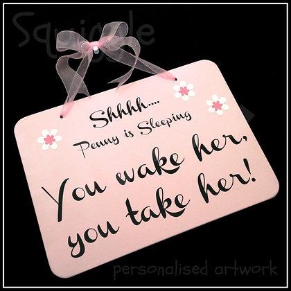 Personalised 'Shhhh baby sleeping' sign