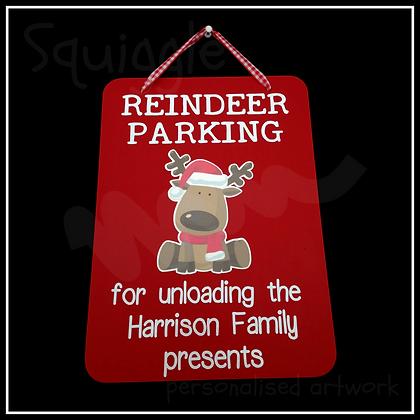 Personalised Reindeer Parking sign