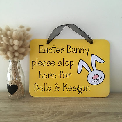 Personalised 'Easter Bunny Stop Here' sign