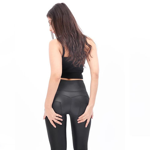 Black Shinny Leather  Jeans