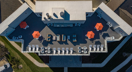 Aerial view of the rooftop deck