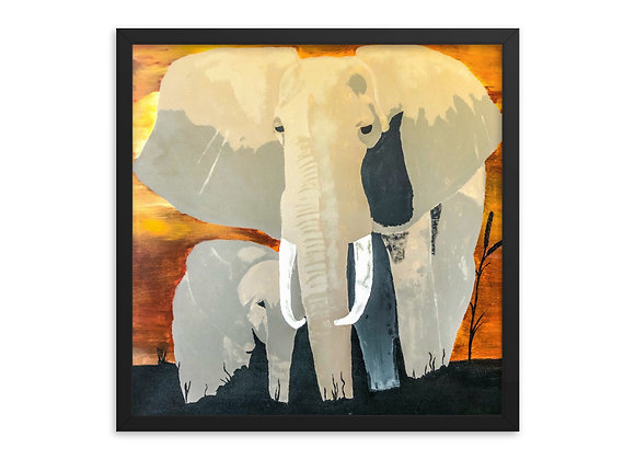 Elephant Mama and Baby Framed Poster Print