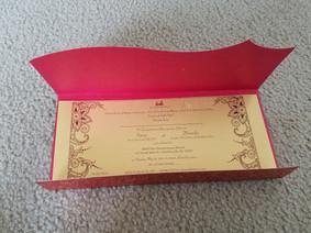 Indian Wedding Invitation on Gold Shimme