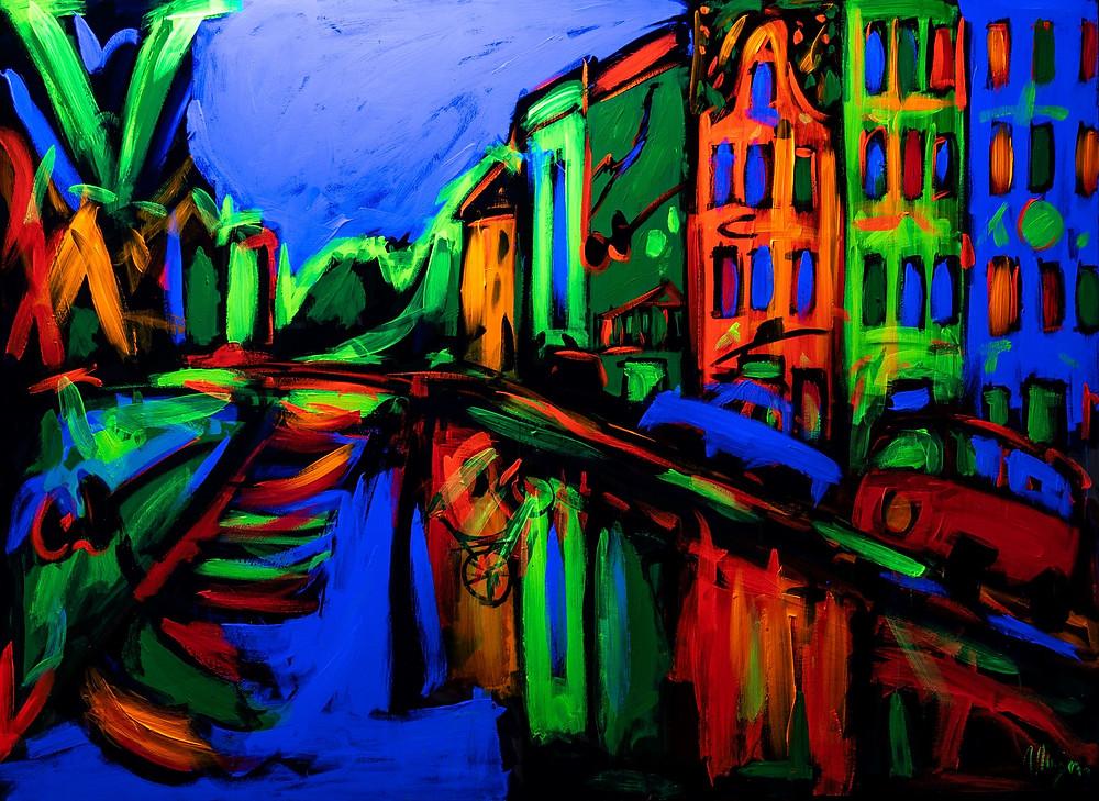 AMSTERDAM 135x186, tempera fluorescente su tela, 2014
