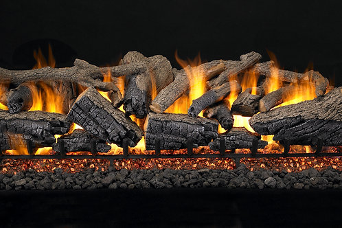 Real Fyre Charred Majestic Oak See Thru | Gas Log Sets Vented