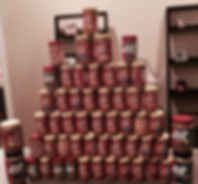 tower of peanut butter stacked at the Eureka Food Pantry