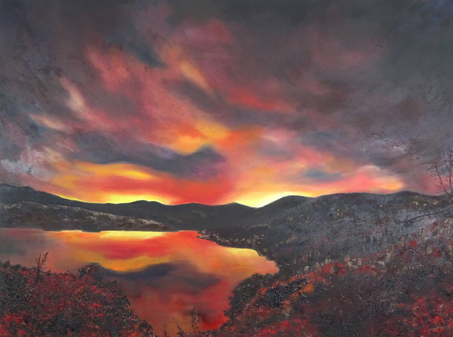 Whiskeytown Alight at Night. Ash and oil on canvas.