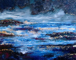 Oil painting, Abstract Seascape with Goldleaf
