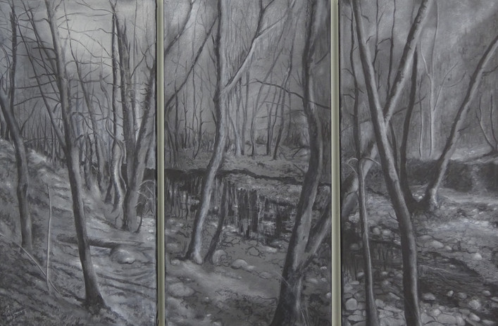 Triptych of the Creek. Ash on canvas.