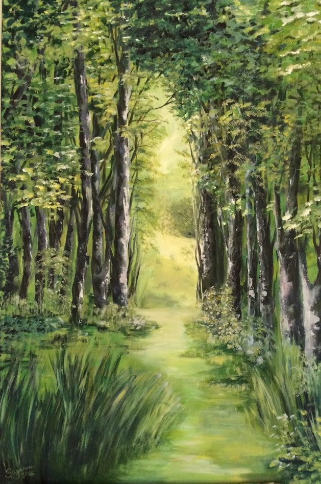 Green view in oil.