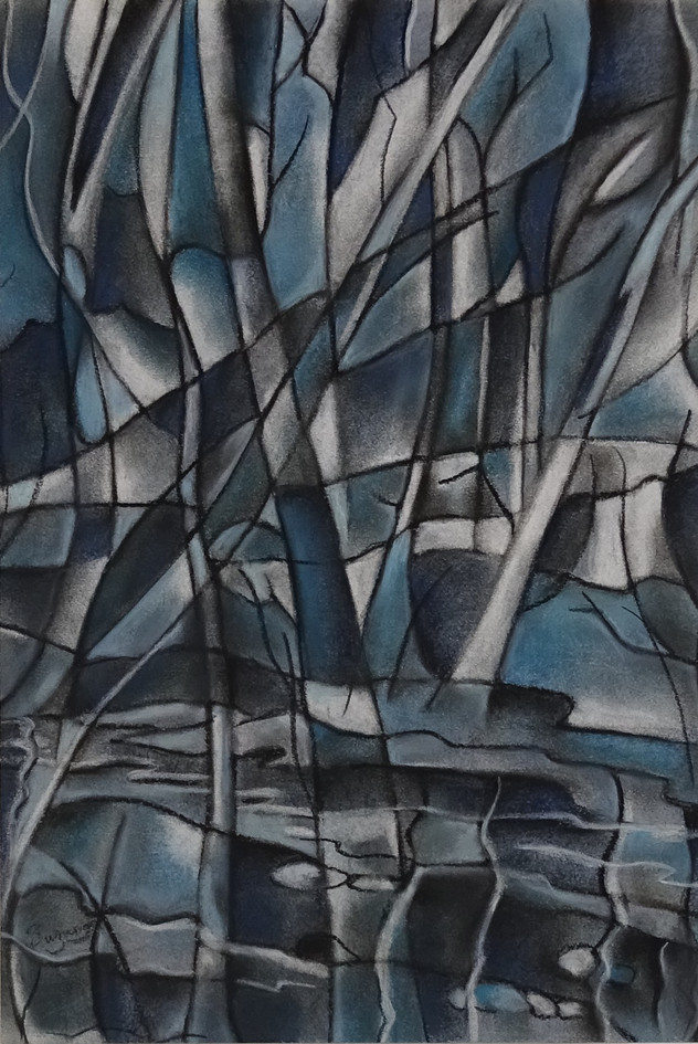Cubist blue trees