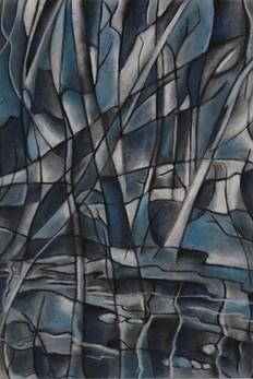Cubist blue trees