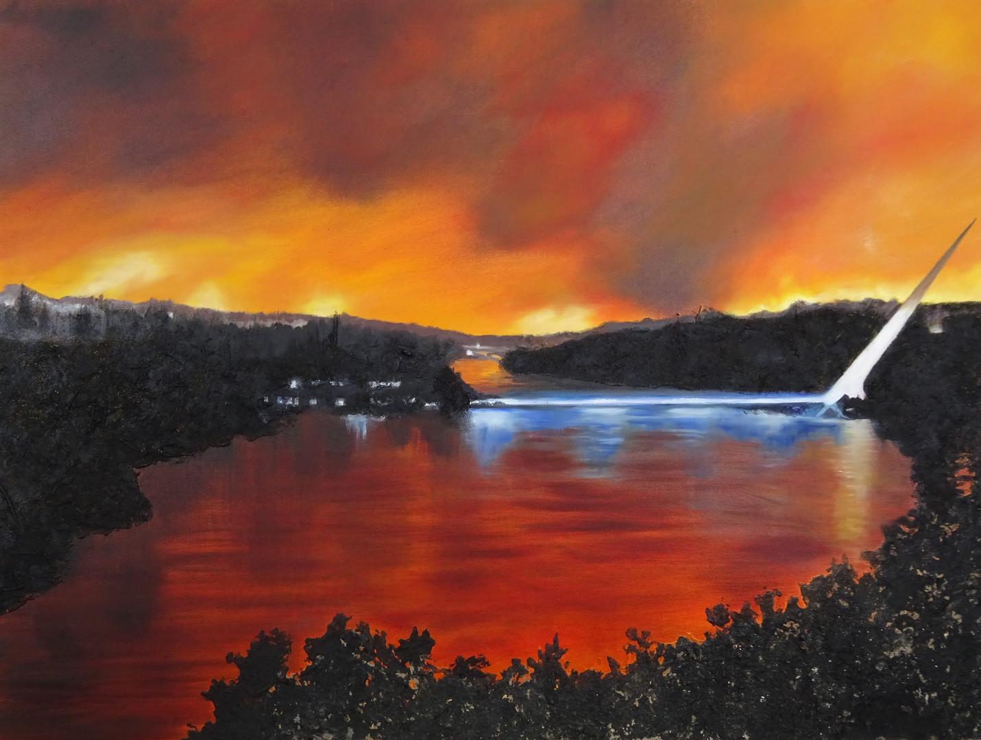 Sundial Bridge. Ash and oil on canvas.