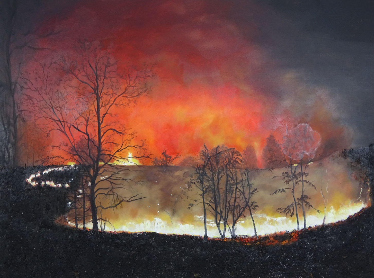 Wildfire Creeping Through the Night. Ash and oil on canvas.