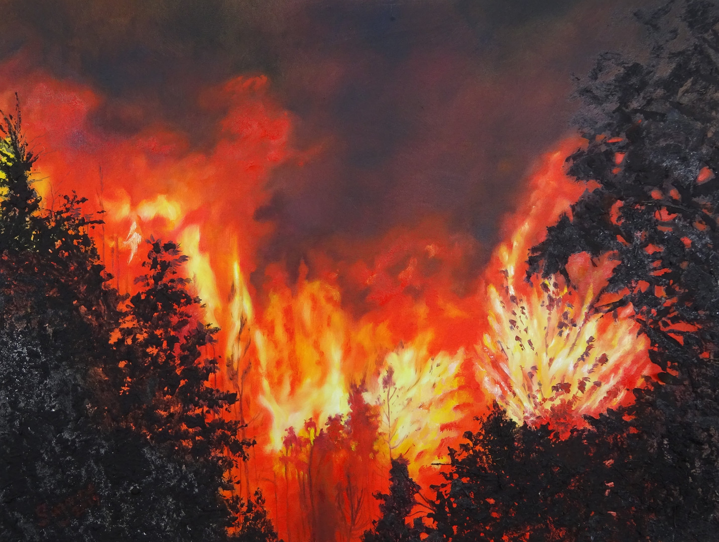 Fire, fire Burning Bright. Ash and oil on canvas.