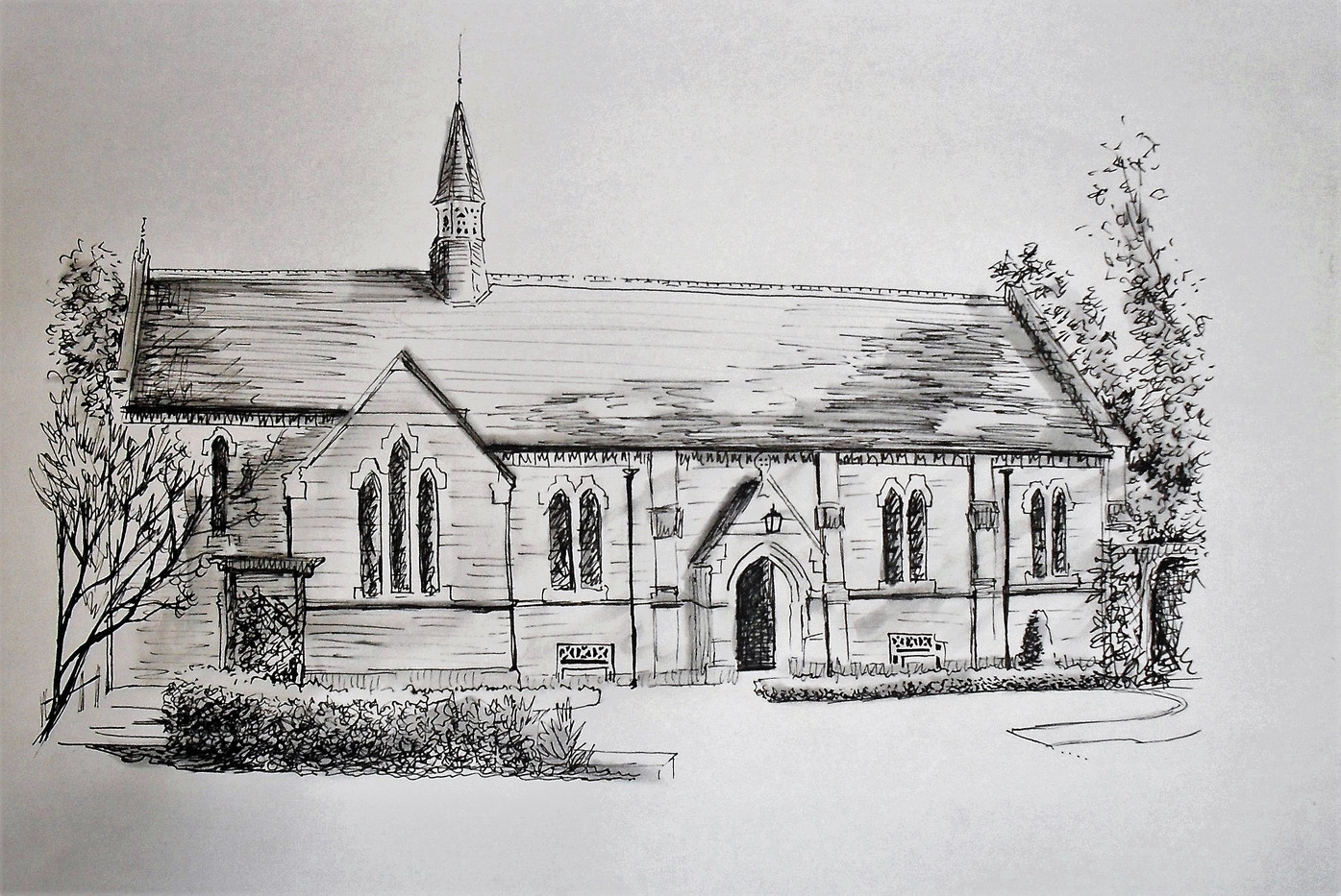 Pen and ink of chapel of Edward the Conf