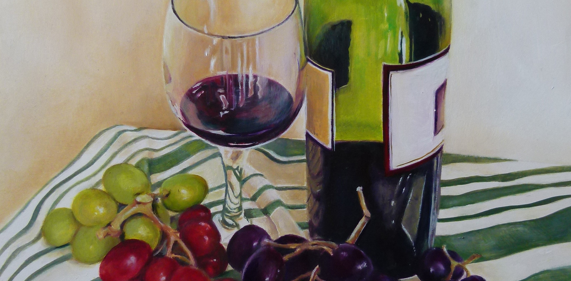 Still Life of wine and grapes on teacloth