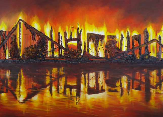 Homes Burn to Ash. ash and oil on canvas.