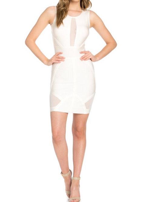 White Mesh Bandage Dress