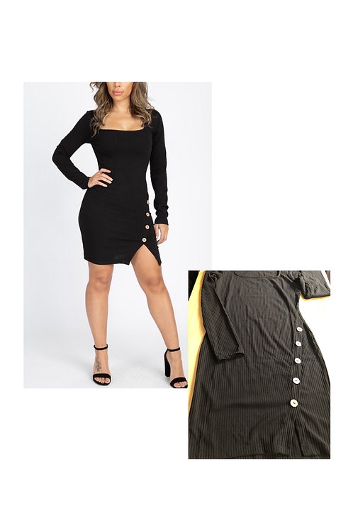 Long Sleeve Ribbed Mini Dress