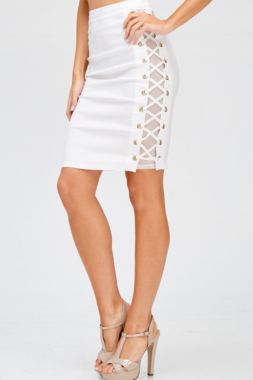 White Side Lace Up Mesh Skirt
