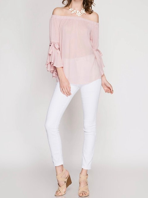 Dusty Pink Ruffle Sleeve Off The Shouler