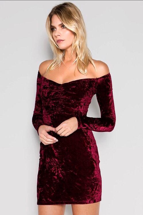 Take Me Burgundy Velvet Dress