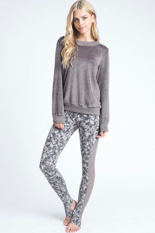 Gray Velour Lace Up Sweatshirt